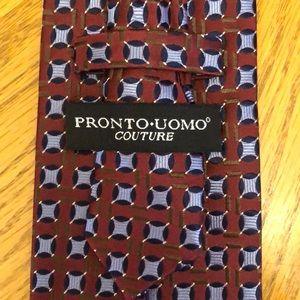 Pronto Uomo Silk Tie Blue Red Geometric Design